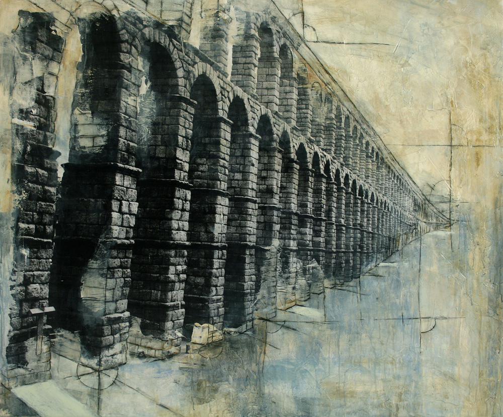 "Aquaducts Spain  Mixed Media on Canvas 48""x40"", 2009"