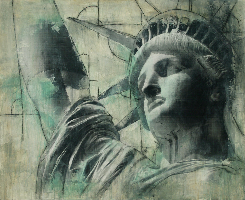 "Statue of Liberty  Mixed Media on Canvas 44""x36"", 2009 Private Collection"