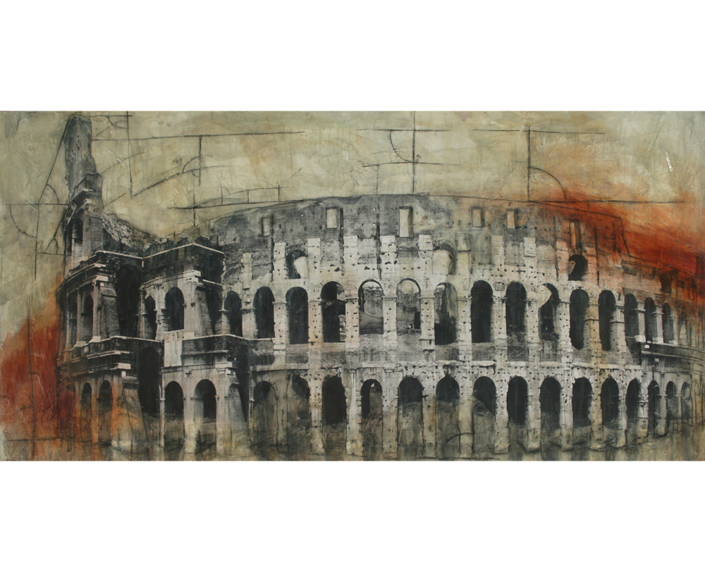"Colosseum  Mixed Media on Canvas 74""x37"", 2009 Private Collection"