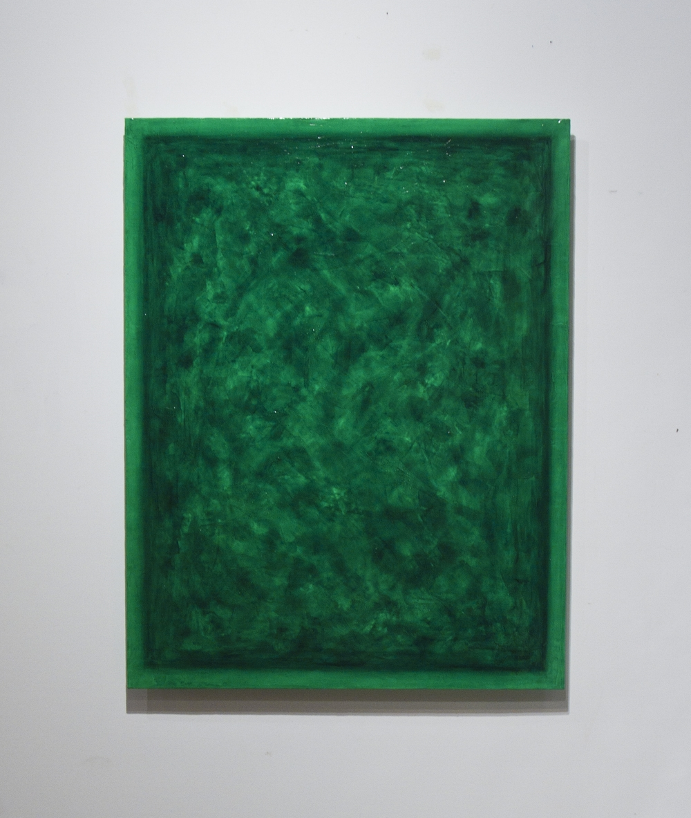 "Emerald commission,  2015 Oil, Pigment and Polymer on Canvas 35""x45"" Corporate Installation"