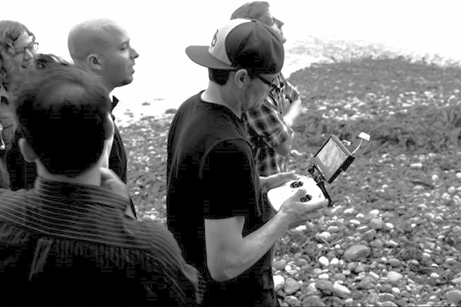 Gary piloting his drone along with his team mates from the 2014 48 Hour Film Project.