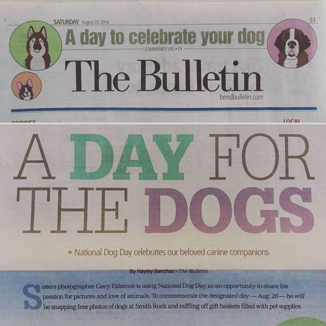 """A DAY FOR DOGS"" Bend Bulletin did an article on me and the photo shoot I am doing at Smith Rock this Friday for National Dog Day.  Couldn't be more happy about this, and thanks to @bendpetexpress and @brightsideanimalcenter.  You know #BendLovesDogs and #DogsLoveBend!  Link to the event can be found in my profile!  Check out the article here. http://www.bendbulletin.com/lifestyle/4548728-151/photographing-dogs-in-honor-of-national-dog-day"