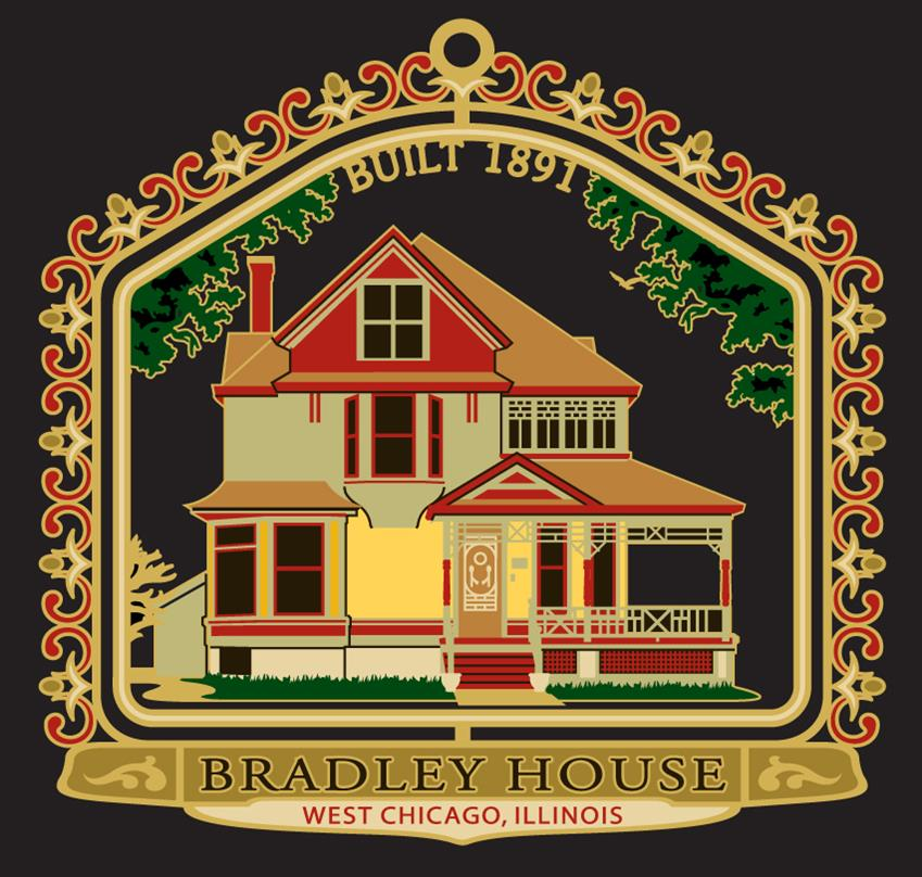 2008-   Bradley House    This frame Queen Anne style home at 348 Arbor Avenue was built in 1891 for Henry Bradley, a   successful grain dealer.  Bradley served as one of the first Village of Turner (West Chicago's previous name) trustees in 1873.  A variety of  window sizes and placement, an open porch with delicate spindle work, a combination of bays, a steeply pitched multi-planed roof and original paint colors are elements of this locally designated landmark.
