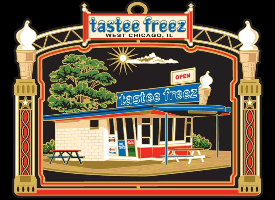 2009- Tastee Freez  (Out of Stock)    This traditional seasonal walk-up ice cream stand at 130 Fremont Street was built in 1955. Established in 1950 the Tastee-Freez chain remains one of the oldest franchise operations in the U.S.; with their automatic continuous mix freezer they made soft-serve ice cream an American treat. The West Chicago franchise received the 2008 National Store Owner of the Year Award as the best of more than 1,000 stores in the U.S.
