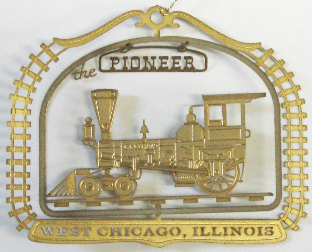 1998- Pioneer Locomotive  (Out of Stock)    This was the first locomotive used by the Galena & Chicago Union Railroad which began operating west from Chicago in October of 1848. Tracks reached what would become known as Junction (now West Chicago) in November of 1849. A year later, the newly created Aurora Branch Railroad borrowed the ten ton engine to run its cars from Junction to Aurora. The Pioneer was a second-hand Baldwin engine which remained in regular service until 1858, pulling a maximum load of seven cars. Since 1972 the Pioneer has been on exhibit at the Chicago History Museum.