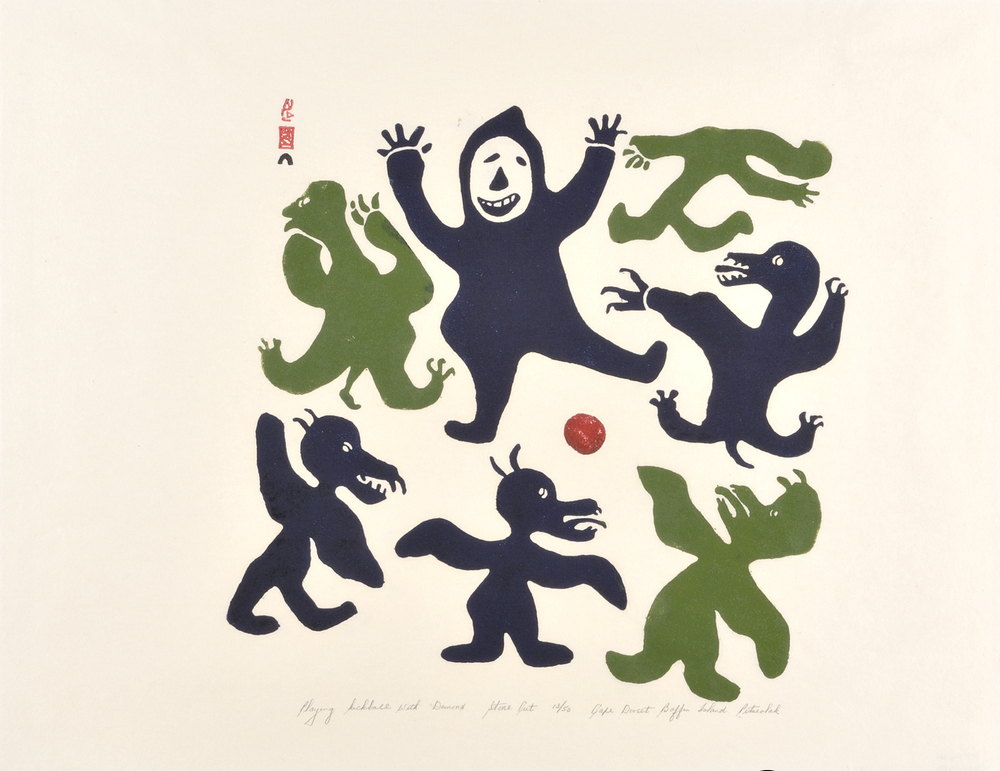Pitseolak Ashoona  60-49 Playing Kickball with Demons, 1960  Stonecut  48.2 x 60.9 cm