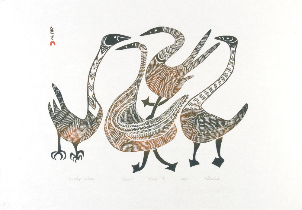 Pitseolak Ashoona 72-28 Dancing Birds, 1972 Stonecut 17 x 24 in