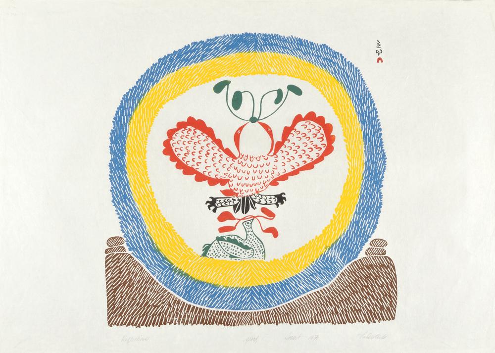 Pitaloosie Ashoona  71-17 Reflections, 1971  Stonecut  24 1/2 x 34 in