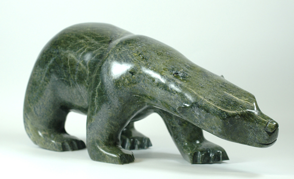 "Ashevak Tunnillie 6427I Bear, 2014 Serpentinite h 10""  w 22.5""  d 8.5"""
