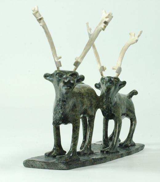 "Pavinak Petaulassie 6090I  Two Caribou, 2014 Serpentinite, antlerht h 7.5"" w 11"" d 2.5"""