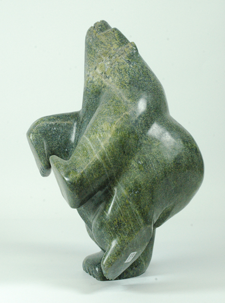 "Joannie Ragee     6443J    Dancing Bear, 2015 Serpentinite h 15"" w 10.5""  d8"""