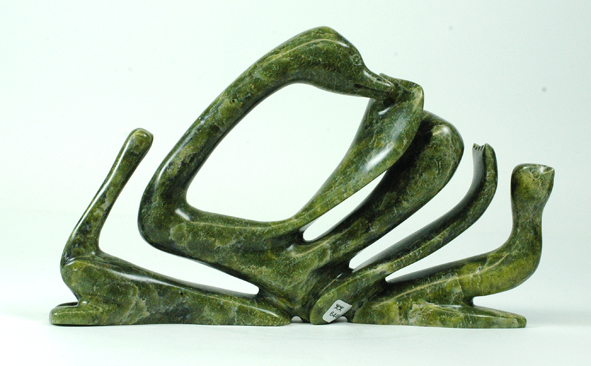 "Tukiki Manumee 6449J    Birds, 2015                     Serpentinite h 7""  w 11.5""  d 2"""