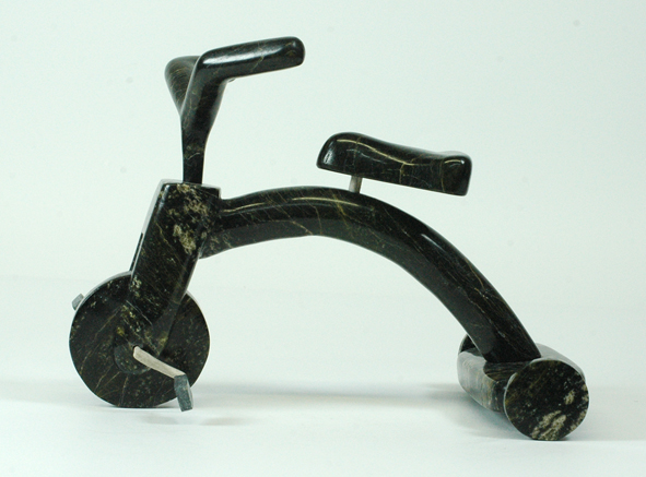 "Isacci Etidloi 7253C    Tricycle, 2008                         Serpentinite, antler h 7""  w 9.5""  d 6.5"""