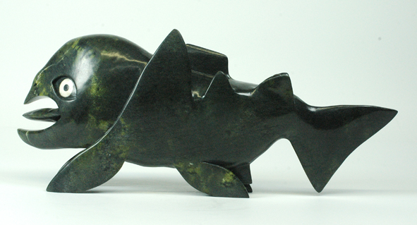"Toonoo Sharky 7706G    Fish Transformation, 2012             Serpentinite, ivory     h 6.5""   w 16""  d 3"""