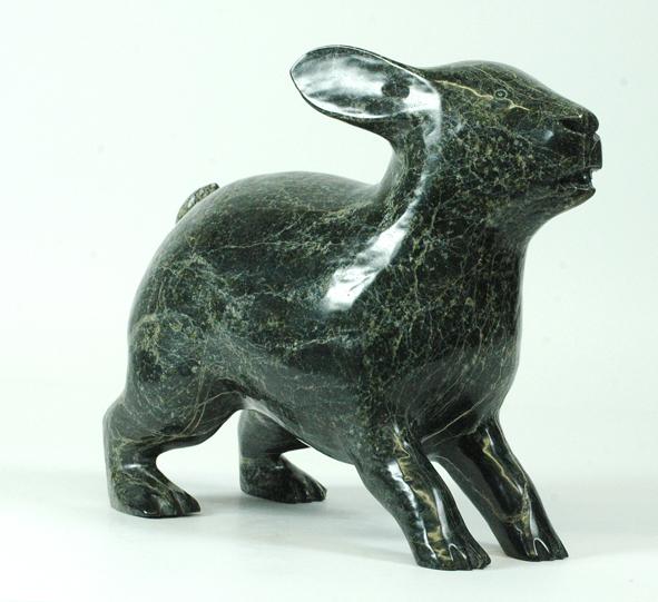 "Kellipalik Qimirpik 8171E  Arctic Hare, 2010      Serpentinite h 9"" w10"" d 5"""
