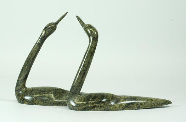 "Ningeosiaq Ashoona  7394H    Two Loons, 2013      serpentinite      h 8""  w 13.5""  d 4"""