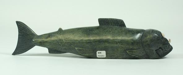 "7642G Fish Spirit, 2013    Samonie Toonoo     ht 3.5"" wdth 13"" dpth 2"" Serpentinite, antler"