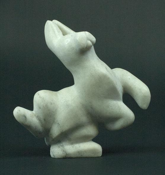 "7678G Arctic Hare, 2013    Pitseolak Oshutsiaq     ht 5.5"" wdth 5.5"" dpth 3"" marble"
