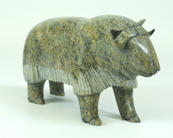 "6268G  Muskox, 2013   Noah Jaw  ht 5""  wdth 9""  dpth 3"" Serpentinite"