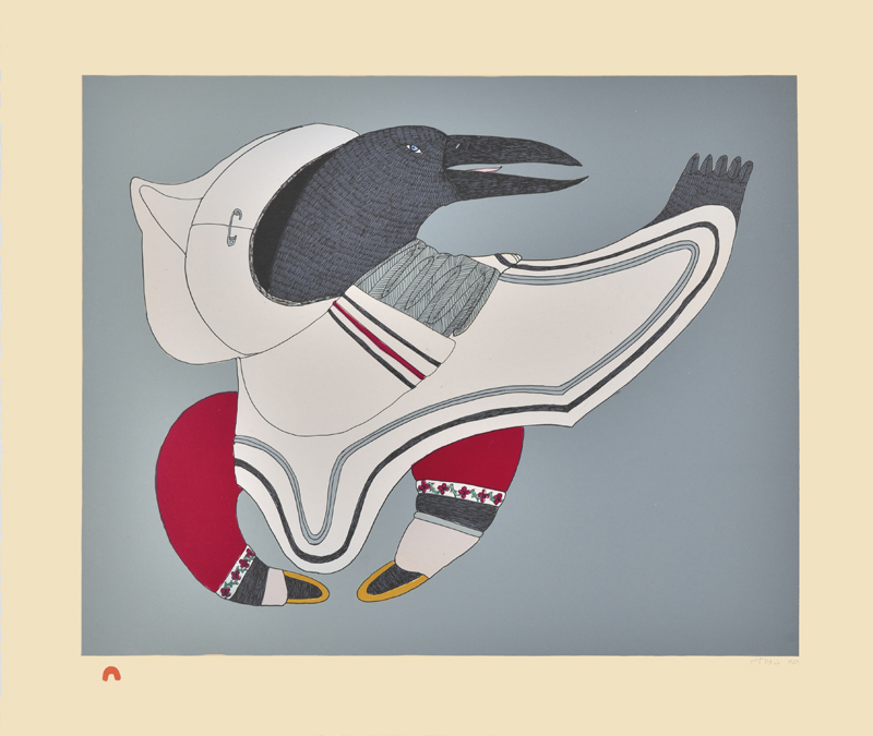Ningeokuluk Teevee  RAVEN'S REGALIA Lithograph 2015 48.9 x 57.5 cm $800.00 CDN Released in the 2015 collection Dorset ID#: 15-04