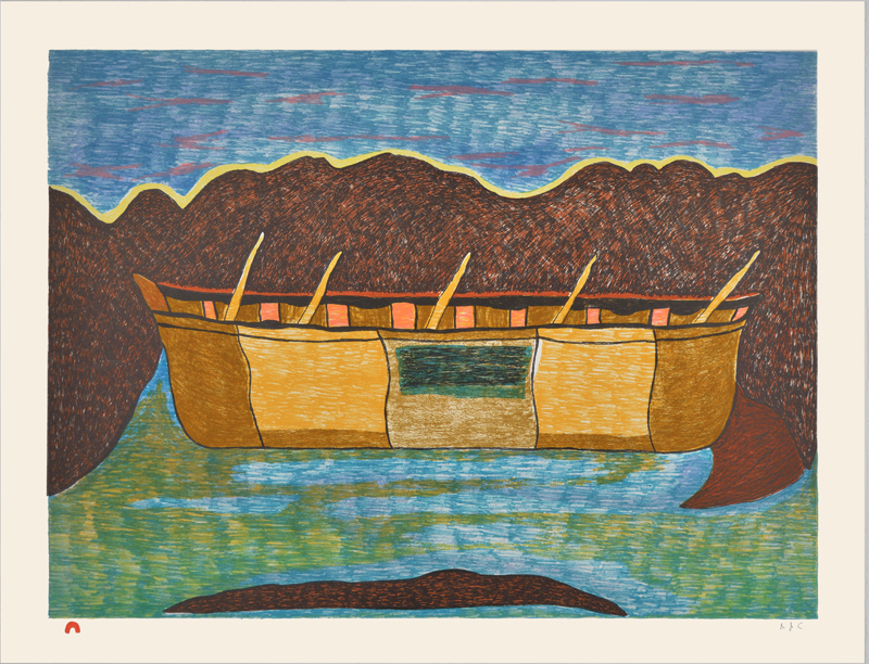 Ohotaq Mikkigak  LAST UMIAK Lithograph 2015 51.5 x 66.5 cm $800.00 CDN Released in the 2015 collection Dorset ID#: 15-31