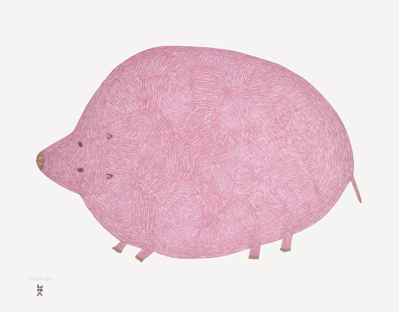Saimaiyu Akesuk  PINK LEMMING Stonecut & Stencil 2015 61.7 x 78.5 cm $900.00 CDN Released in the 2015 collection Dorset ID#: 15-in02