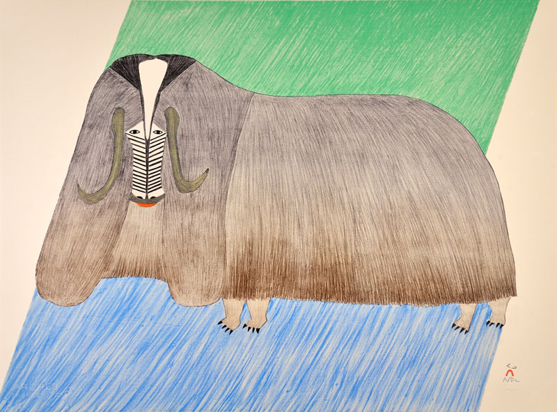 Pudlo Pudlat FORMIDABLE MUSKOX Lithograph   1985 56.8 x 73.8 cm  $1000.00 CDN Released in the 2016 Spring collection Dorset ID#: 16S-02
