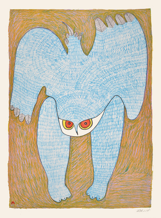 Ningeokuluk Teevee RUFFLED FEATHERS Lithograph   2014 76.4 x 57 cm $700.00 CDN Released in the 2014 collection Dorset ID#: 14-09
