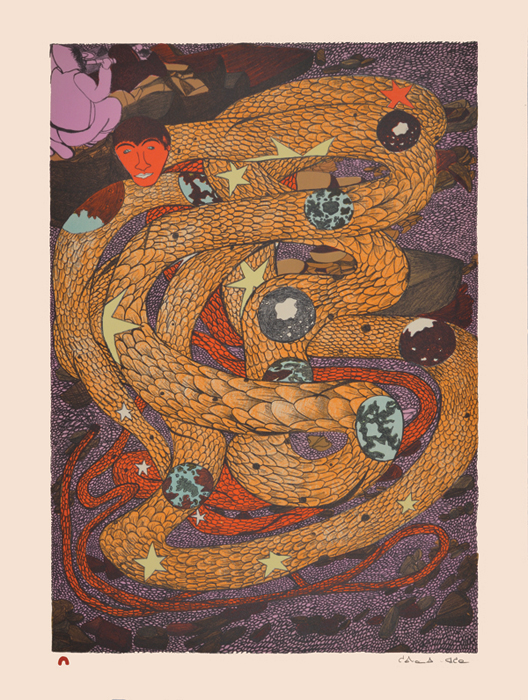 Shuvinai Ashoona  INNER WORLDS Lithograph 2014 76.3 x 57 cm $700.00 CDN Released in the 2014 collection Dorset ID#: 14-32
