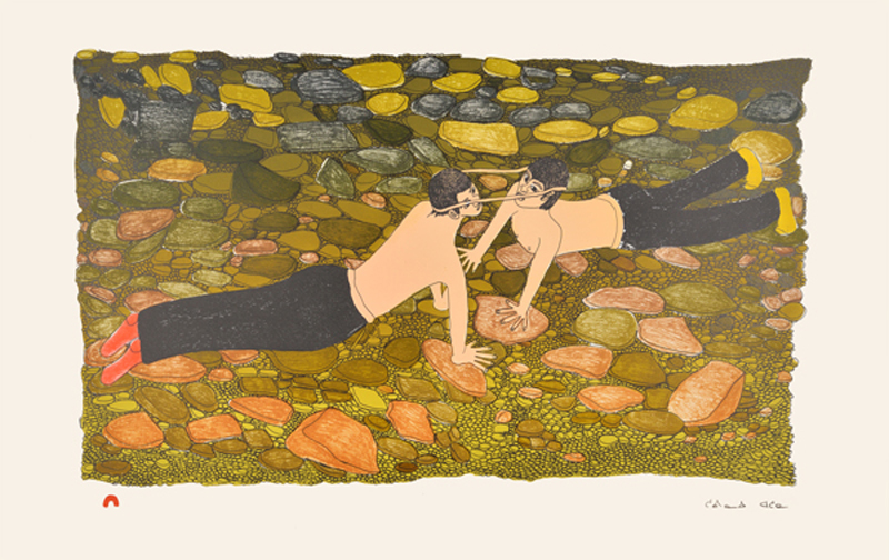 Shuvinai Ashoona  HEAD PULL Lithograph 2014 42 x 66.5 cm $450.00 CDN Released in the 2014 collection Dorset ID#: 14-33