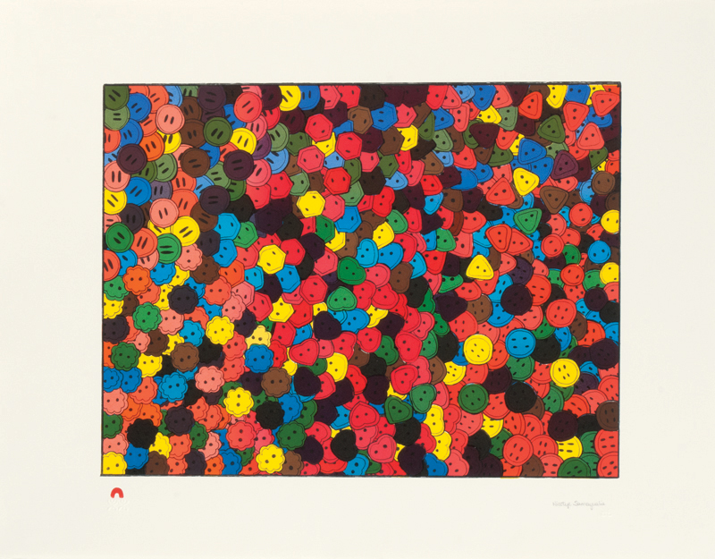 Nicotye Samayualie MANY BUTTONS Lithograph   2013 51 x 66.2 cm $500.00 CDN Released in the 2013 collection Dorset ID#: 13-10