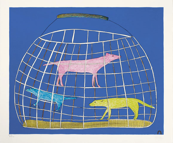 Kakulu Saggiaktok PRECIOUS CARGO Lithograph   2011 38.5 x 46 cm $450.00 CDN Released in the 2011 collection Dorset ID#: 11-01