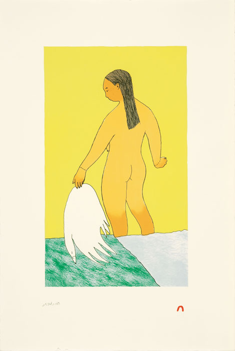 Ningeokuluk Teevee  KIVIUP NULIANGA (KIVIUQ'S WIFE) Lithograph 2010 57 x 38.2 cm $350.00 CDN Released in the 2010 collection Dorset ID#: 10-18