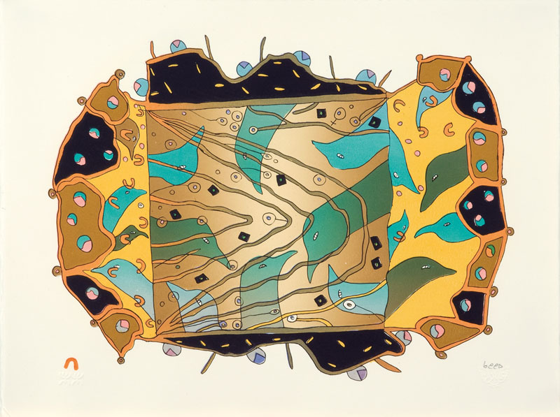 Qavavau Manumie  TRANSFORMATION Lithograph 2009 33.2 x 44 cm $400.00 CDN Released in the 2010 Spring collection Dorset ID#: 10S-02