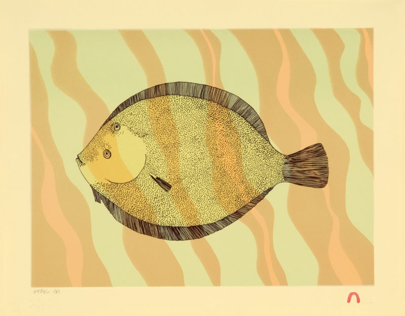 Ningeokuluk Teevee HALIBUT Lithograph   2009 28 x 36 cm $350.00 CDN Released in the 2009 collection Dorset ID#: 09-25