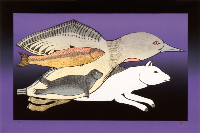 Pitaloosie Saila  ARCTIC ENSEMBLE Lithograph   2009 51 x 76.3 cm $800.00 CDN Released in the 2009 collection Dorset ID#: 09-31