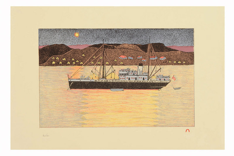 Kananginak Pootoogook MIDNIGHT SUN Lithograph   2008 38.4 x 56.5 cm $700.00 CDN Released in the 2008 collection Dorset ID#: 08-07