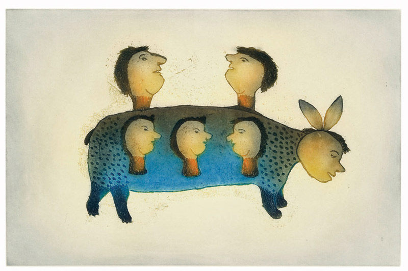 Papiara Tukiki  UKALIQ LISTENS Etching & Aquatint 2008 43.4 x 56.7 cm $500.00 CDN Released in the 2008 collection Dorset ID#: 08-27