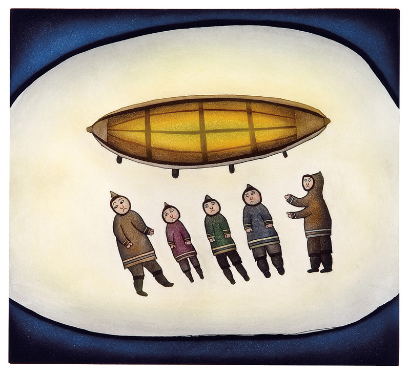 Ohotaq Mikkigak  FIVE MEN AND A BOAT Etching & Aquatint 2007 79.5 x 81 cm $700.00 CDN Released in the 2007 collection Dorset ID#: 07-26
