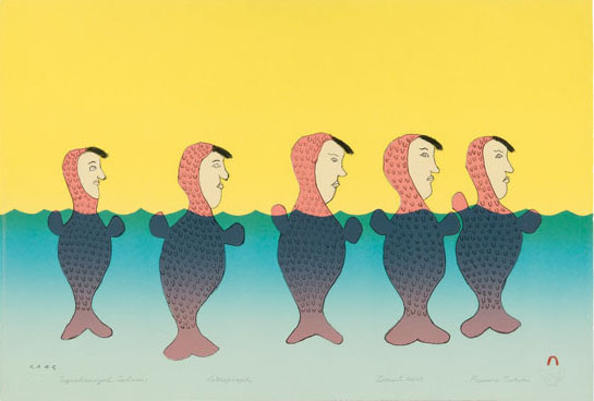 Papiara Tukiki SYNCHRONIZED SEDNAS Lithograph   2005 38.4 x 56.5 cm $400.00 CDN Released in the 2005 collection Dorset ID#: 05-28