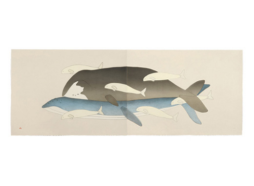 Qavavau Manumie ARCTIC WHALES Lithograph   2004 56.5 x 153 cm $750.00 CDN Released in the 2004 collection Dorset ID#: 04-08