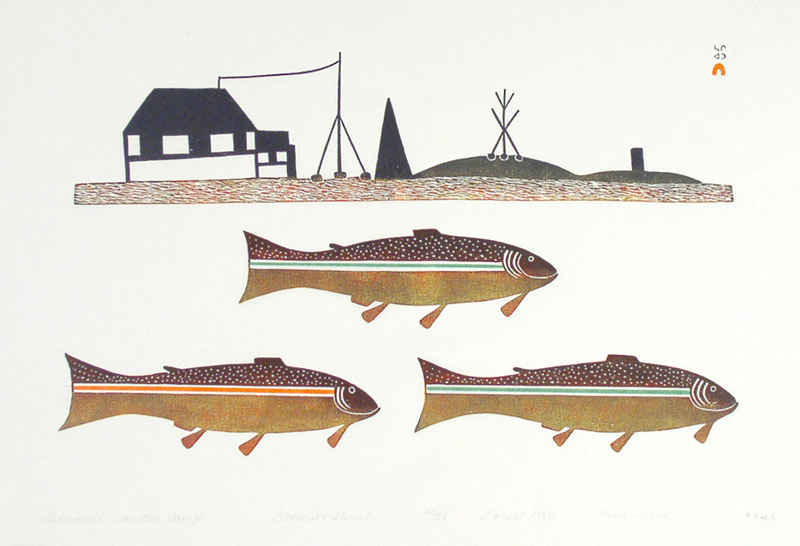 Kingmeata Etidlooie LAKE TROUT NEAR OUR CAMP Stonecut & Stencil   1983 46 x 66.4 cm $600.00 CDN Released in the 2004 Spring collection Dorset ID#: 04S-07