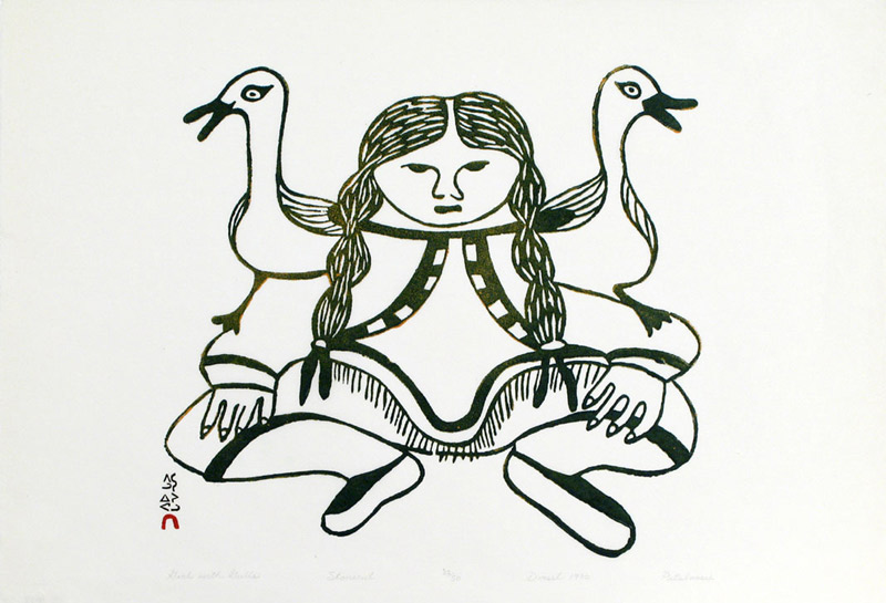 Pitaloosie Saila GIRL WITH GULLS Stonecut   1970 43 x 62 cm $600.00 CDN Released in the 2004 Spring collection Dorset ID#: 04S-08