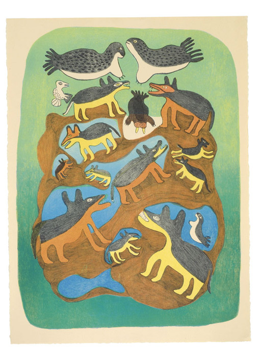 Meelia Kelly  ARCTIC MENAGERIE Lithograph 2003 76.5 x 57 cm $500.00 CDN Released in the 2003 collection Dorset ID#: 03-15