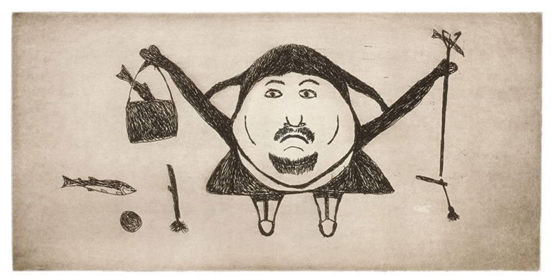 Ohotaq Mikkigak TRIUMPHANT CATCH Etching & Aquatint   2003 35 x 52 cm $300.00 CDN Released in the 2003 collection Dorset ID#: 03-22