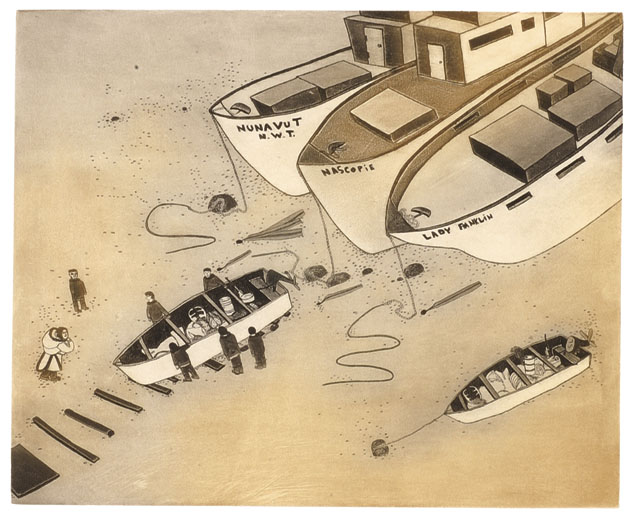Shuvinai Ashoona LOW TIDE Etching & Aquatint   2003 60.6 x 76 cm $450.00 CDN Released in the 2003 collection Dorset ID#: 03-30