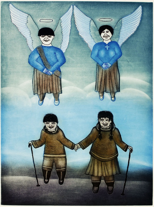 Kumwartok Ashoona  ANGELS BECKON Etching & Aquatint   2002 90.2 x 70.3 cm $600.00 CDN Released in the 2002 collection Dorset ID#: 02-22