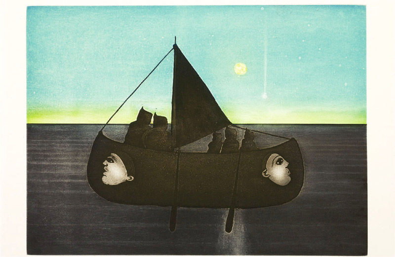 Pitaloosie Saila ARCTIC ODYSSEY Etching & Aquatint   2002 48.8 x 58.7 cm $600.00 CDN Released in the 2002 collection Dorset ID#: 02-28