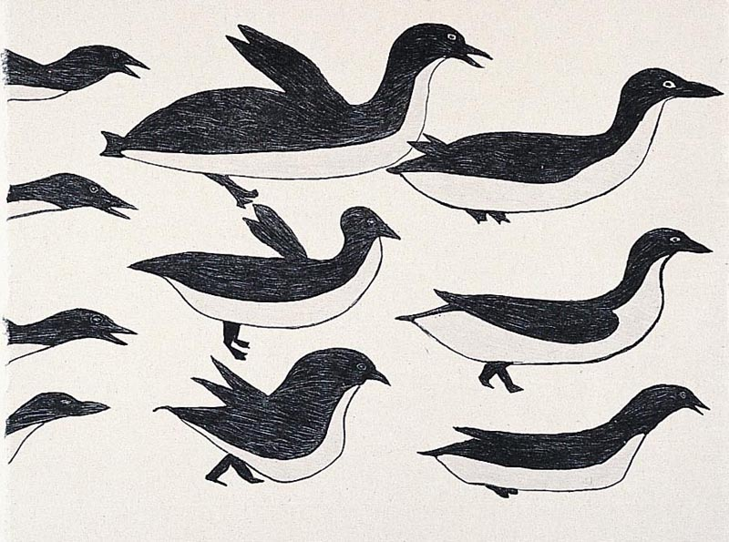 Ohotaq Mikkigak  FLOCK OF BIRDS Lithograph & Chine Colle   2001 38.3 x 45.8 cm $400.00 CDN Released in the 2001 collection Dorset ID#: 01-27