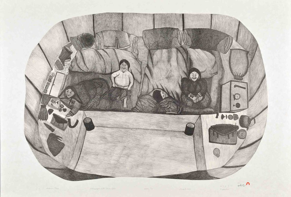 Napachie Pootoogook INTERIOR VIEW Lithograph & Chine Colle   2000 64.8 x 94.8 cm $600.00 CDN Released in the 2000 collection Dorset ID#: 00-21